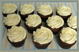 chocolate cupcake with vanilla butter cream