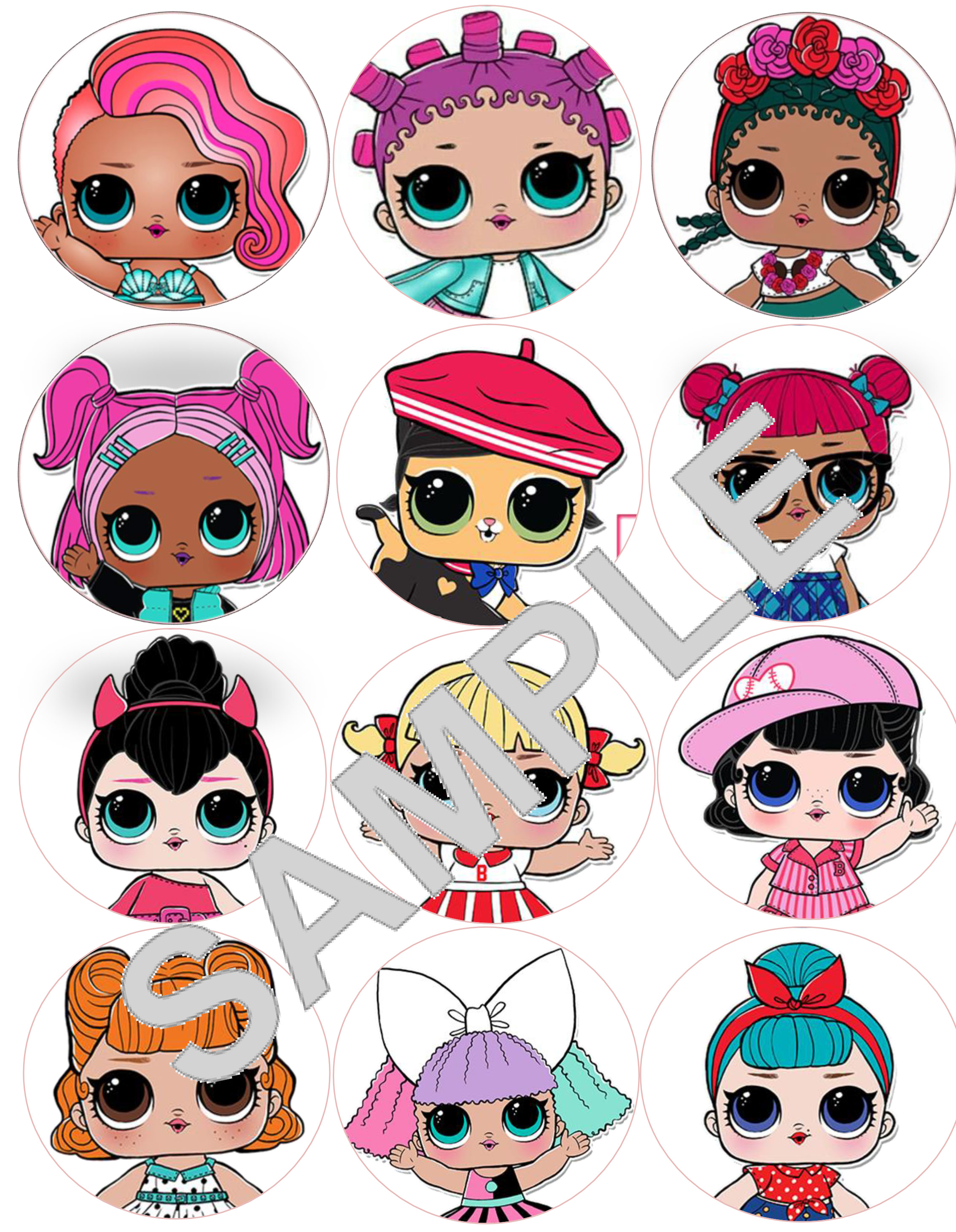 LOL Surprise Dolls 1 sheet x 12 Cupcake toppers for edible ...
