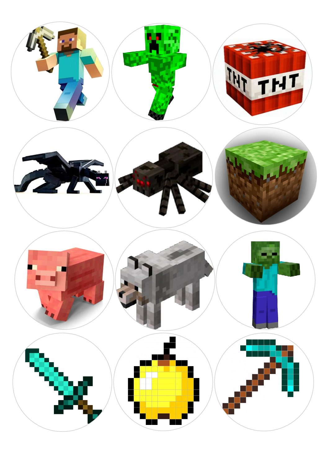 This is a photo of Intrepid Printable Minecraft Cupcake Toppers